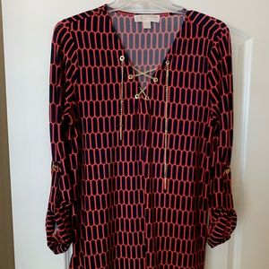 Michael Michael Kors Red and Navy Blouse